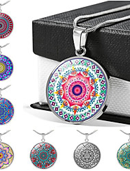 cheap -Women's Pendant Necklace Handmade Kaleidoscope Vintage Colorful Glass Alloy Silver 51-80 cm Necklace Jewelry For Gift Festival