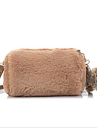 cheap -Women's Faux Fur Crossbody Bag Fur Bag Solid Color White / Black / Blushing Pink