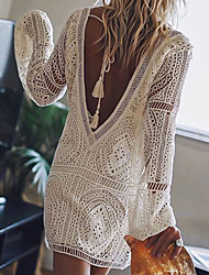 cheap -Women's Shift Dress Short Mini Dress White Red Black Long Sleeve Solid Color Backless Lace Spring Summer Deep V Chic & Modern Hot Sexy Beach Lace 2021 S M L XL XXL