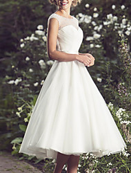 cheap -A-Line Wedding Dresses Jewel Neck Knee Length Chiffon Tulle Short Sleeve Vintage 1950s with 2021