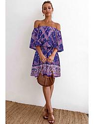 cheap -Women's Sundress Short Mini Dress - Half Sleeve Print Print Summer Boho 2020 Blue Purple Yellow S M L XL