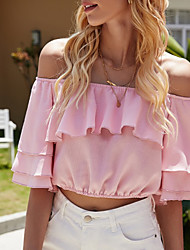 cheap -Women's Blouse Solid Colored Tops Off Shoulder Daily Summer Blushing Pink S M L XL