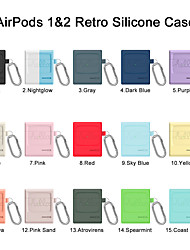 cheap -Solid Color Earphone Case For AirPods 1&2 Retro Silicone Hang Headphone Case