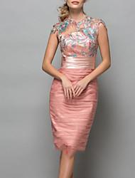 preiswerte -Eng anliegend Elegant Blumig Hochzeitsgast Cocktailparty Kleid Schmuck Kurzarm Knie-Länge Chiffon mit Perlenstickerei Applikationen 2020