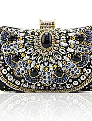 Недорогие -Жен. / Девочки Кристаллы / Бусины Шелк Вечерняя сумочка Сплошной цвет Черный