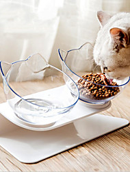 cheap -Rodents Dog Cat Feeders 0.3 L Plastic Solid Colored Fashion Transparent Bowls & Feeding