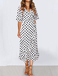 cheap -Women's Swing Dress Midi Dress - Half Sleeve Polka Dot Print Summer Casual 2020 White Black Blue S M L XL
