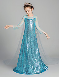 cheap -Elsa Dress Girls' Movie Cosplay Cosplay Vacation Dress Halloween Blue Dress Halloween Carnival Masquerade Tulle Polyester Sequin