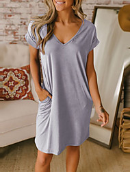 cheap -Women's T Shirt Dress Tee Dress Short Mini Dress Black Blue Gray Short Sleeve Solid Color Summer V Neck Hot Casual 2021 S M L XL XXL
