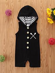 cheap -Baby Girls' Basic Print Sleeveless Romper Black