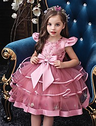 cheap -Princess / Ball Gown Knee Length Wedding / Party Flower Girl Dresses - Tulle Short Sleeve Jewel Neck with Bow(s) / Embroidery / Cascading Ruffles