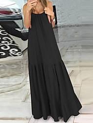 halpa -Naisten A-linjainen mekko Maksimekko - Hihaton Yhtenäinen väri Kesä Vapaa-aika 2020 Musta Rubiini S M L XL XXL