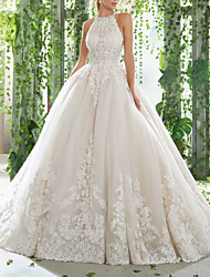 cheap -Ball Gown Wedding Dresses Halter Neck Court Train Lace Tulle Sleeveless Formal with Beading Embroidery 2020
