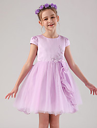 cheap -Princess / Ball Gown Medium Length Wedding / Event / Party Flower Girl Dresses - Satin / Tulle Cap Sleeve Jewel Neck with Embroidery / Appliques / Side Draping