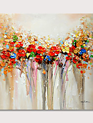 cheap -Colorful Flowers Oil Paintings 100% hand-made Oil Painting on Canvas Texture Abstract Art Pictures Canvas Wall Art Paintings Modern Home Decor Abstract Paintings Rolled Without Frame