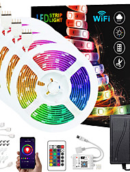 cheap -ZDM Upgraded 65ft (4*5M) App Intelligent Control Led Strip Lights IR 24 Key WIFI Controller 5050 RGB Waterproof LED Soft light strip with Adapter Kit DC12V
