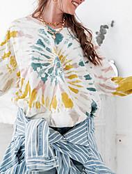 billige -Dame Sweatshirt Batikfarvet Afslappet Blå Gul S M L XL