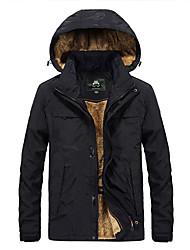 cheap -Men's Solid Colored Basic Winter Jacket Regular Daily Long Sleeve Nylon Coat Tops Black
