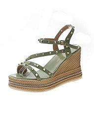 cheap -Women's Sandals Summer Platform Open Toe Daily Solid Colored PU Green / Beige