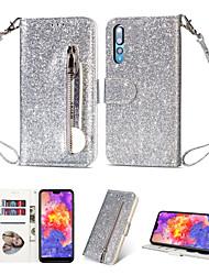 cheap -Applicable  Huawei P40/P40 Pro/P40 Lite/P30/P30 Pro/P30 Lite/P20/P20 Pro/P20 Lite Shimmering Powder Leather Phone Cover Multi-functional Wallet Zipper Protective Case