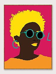 cheap -Framed Art Pop Cartoon Canvas Printing Modern Fashion Beautiful Africa Girl PS Oil Painting  Wall Art Suitable for Living Room Decoration Ready To Hang 1 Piece