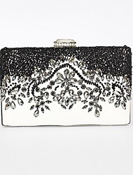 cheap -Women's Bags PU Leather Evening Bag Crystals Beading Wedding Bags Party Event / Party Black