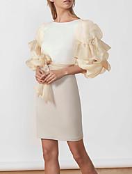 cheap -Sheath / Column Minimalist Elegant Party Wear Cocktail Party Dress Jewel Neck Half Sleeve Short / Mini Stretch Satin with Sash / Ribbon 2021