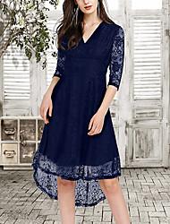 cheap -Women's Sheath Dress Knee Length Dress Black Blue Wine Half Sleeve Solid Color Lace Patchwork Spring Summer V Neck Casual 2021 S M L XL XXL