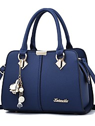 cheap -Women's Bags PU Leather Satchel Messenger Bag Top Handle Bag Zipper Daily Handbags Wine Black Royal Blue Beige