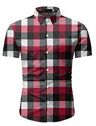 billige -Herre Ternet Skjorte Forretning Basale Daglig Weekend Blå / Rød / Brun