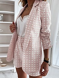 cheap -Women's Blazer As Picture Houndstooth Loose Polyester Women's Blazer Coat Tops