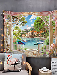 cheap -Window Landscape Wall Tapestry Art Decor Blanket Curtain Picnic Tablecloth Hanging Home Bedroom Living Room Dorm Decoration Polyester Garden Flower Pier Mountain