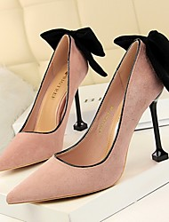 cheap -Women's Heels Stiletto Heel Pointed Toe Daily PU Solid Colored Summer Black Red Pink / 3-4