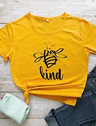 cheap -Women's Be kind T-shirt Graphic Prints Letter Print Round Neck Tops Slim 100% Cotton Basic Basic Top White Black Yellow