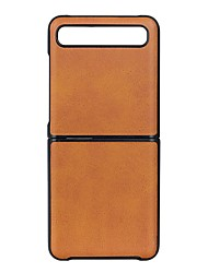 cheap -Case For Samsung Galaxy Z Flip Ultra-thin Back Cover Solid Colored Cow Pattern Leather / TPU Case For Samsung Galaxy Z Flip