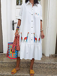 cheap -Women's Shift Dress Midi Dress - Half Sleeve Print Patchwork Button Print Summer Casual Daily 2020 White S M L XL