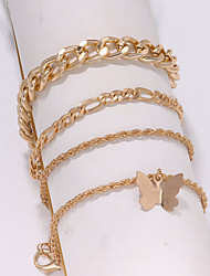 cheap -Leg Chain Simple Classic Rustic Women's Body Jewelry For Gift Holiday Retro Alloy Lucky Gold Silver 4pcs