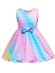 cheap -Kids Toddler Girls' Sweet Cute The Little Mermaid Geometric Cartoon Bow Sleeveless Knee-length Dress Blushing Pink