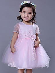 cheap -Ball Gown Royal Length Train / Medium Length Party / Wedding Flower Girl Dresses - Satin / Tulle Short Sleeve Jewel Neck with Beading / Appliques / Butterfly