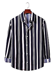 billige -Herre Stribet Skjorte Forretning Basale Daglig I-byen-tøj Sort / Rød / Navyblå