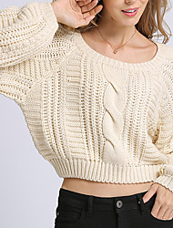 cheap -Women's Solid Colored Long Sleeve Pullover Sweater Jumper, Crew Neck Fall Beige S / M / L