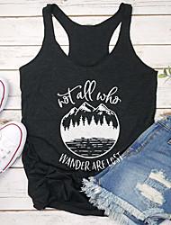 cheap -Women's T-shirt Graphic Prints Letter Print Round Neck Tops Slim 100% Cotton Basic Basic Top Black