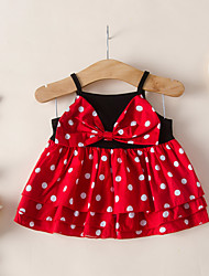 cheap -Kids Toddler Girls' Active Cute Red Polka Dot Bow Sleeveless Knee-length Dress Red
