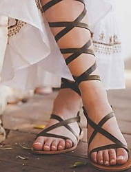 cheap -Women's Sandals Roman Shoes / Gladiator Sandals Summer Flat Heel Open Toe Daily PU Almond / Black