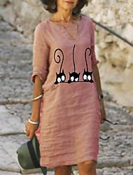 cheap -Women's A-Line Dress Knee Length Dress Half Sleeve Animal Print Summer Plus Size Hot Casual 2021 Red Yellow Light Green Light Blue S M L XL XXL 3XL 4XL 5XL