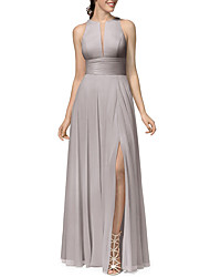 cheap -A-Line Jewel Neck Floor Length Chiffon Bridesmaid Dress with Pleats / Split Front