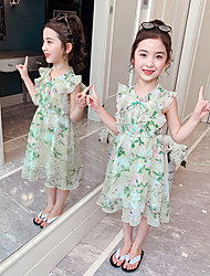 cheap -Kids Girls' Cute Floral Print Drawstring Short Sleeve Dress Blushing Pink