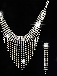 cheap -Women's White AAA Cubic Zirconia Stud Earrings Choker Necklace Bridal Jewelry Sets Tennis Chain Mini Stylish Luxury Earrings Jewelry Silver For Party Wedding Engagement 1 set
