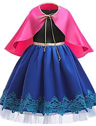 cheap -Kids Girls' Active Cute Plaid Lace Short Sleeve Knee-length Dress Royal Blue