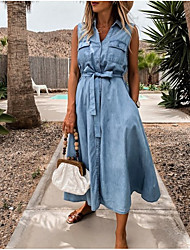 cheap -Women's Denim Shirt Dress Midi Dress Sleeveless Solid Color Summer Hot Casual Cotton 2021 Light Blue S M L XL